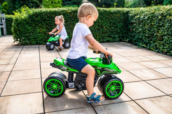 Kids Playing with Kawasaki Bud Racing Bike Falk Toys 402KX Outdoor Bike