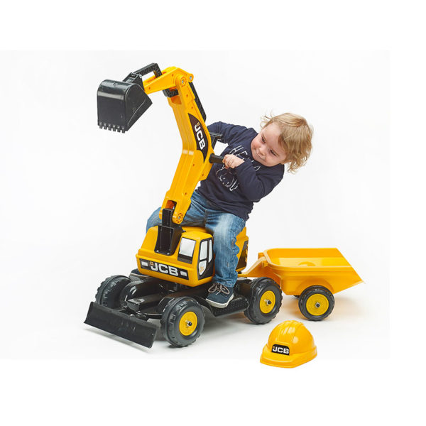 Child playing with JCB 115A backhoe