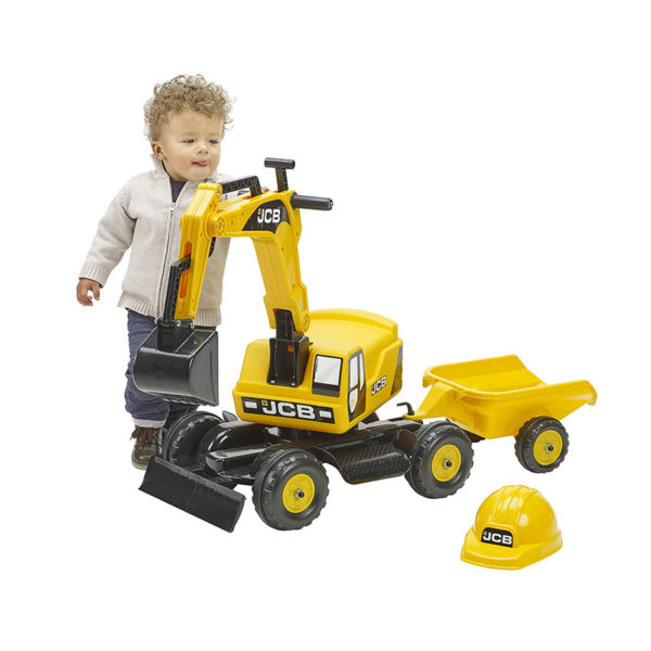 Child playing with JCB Falk Toys 115A backhoe
