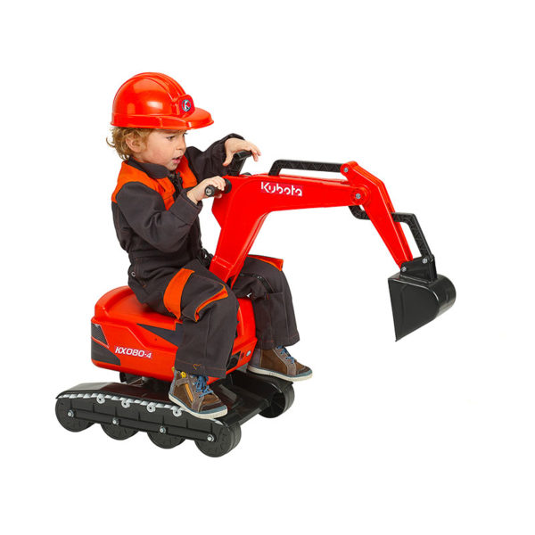Child playing with Kubota Falk Toys backhoe 102