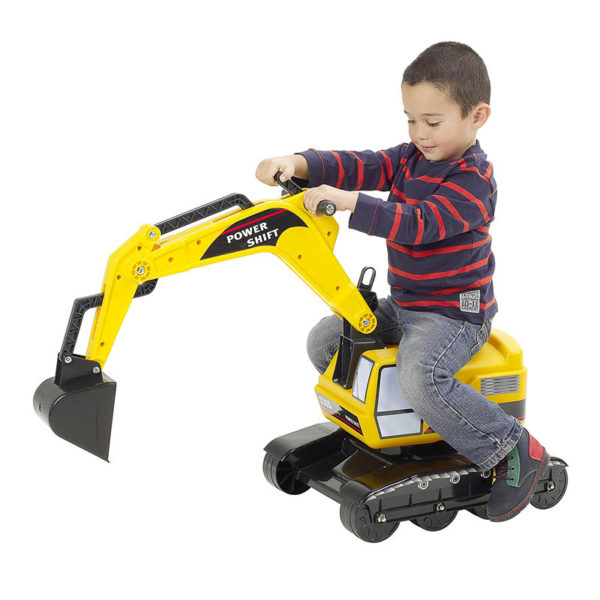 Child playing with yellow power shift backhoe 100