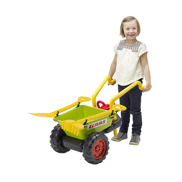 Child playing with Claas wheelbarrow trailer Falk Toys 295VC