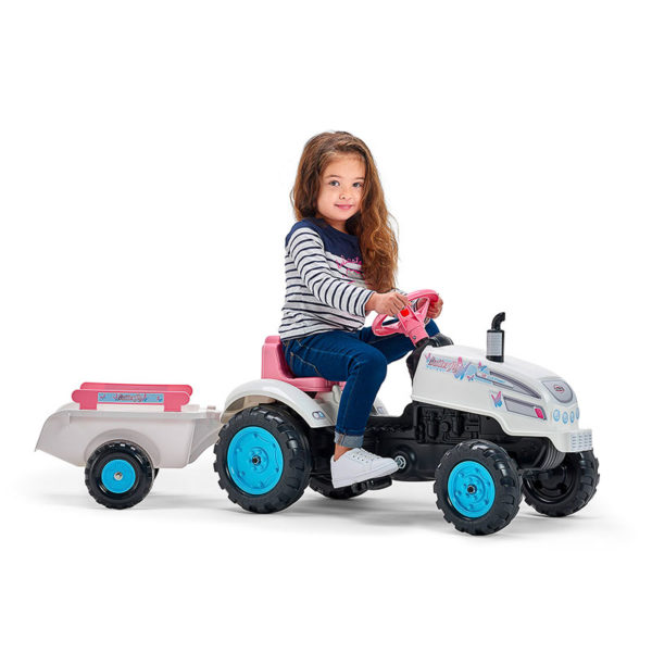 Child playing with Butterfly Farmer 2042AB Pedal Tractor