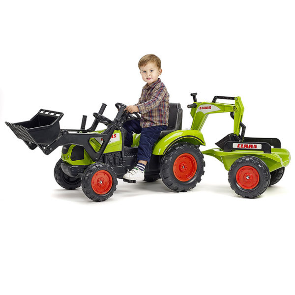 Child playing with Claas 2070Y pedal backhoe loader