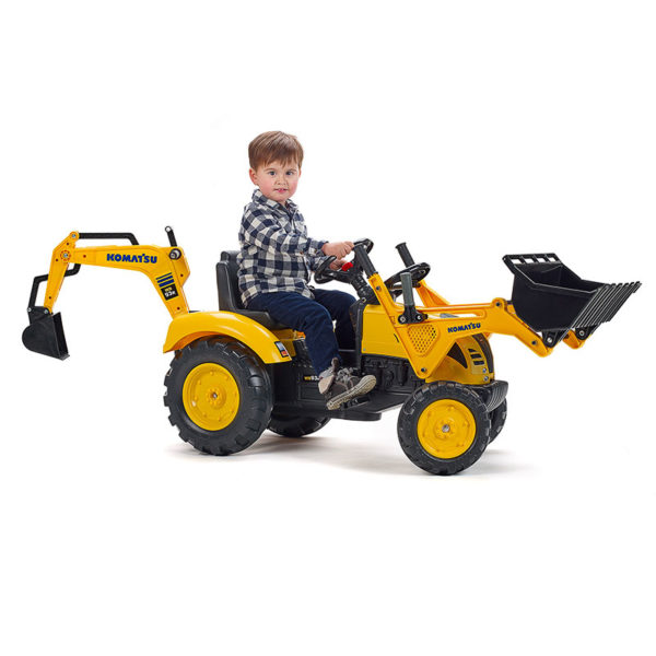 Child playing with Komatsu 2086N pedal backhoe loader