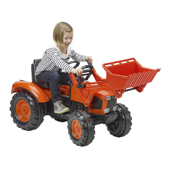 Child playing with Kubota 2062D Pedal Backhoe