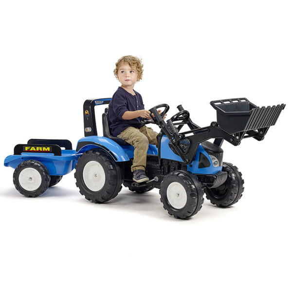 Child play with Landini 3010AM Pedal Backhoe loader