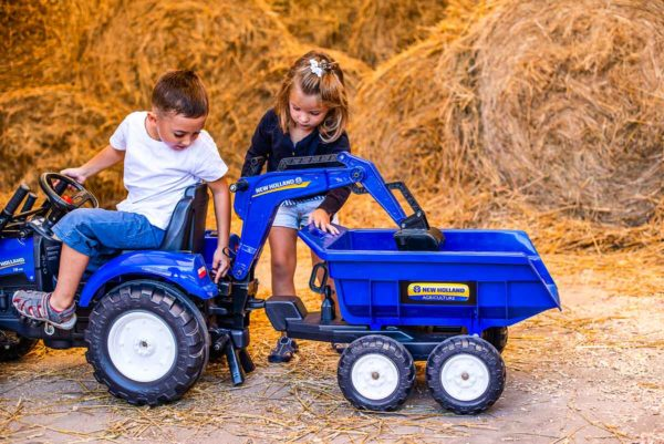 Children playing with New Holland 3090W Backhoe outdoors