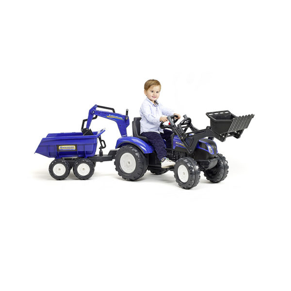 Spielendes Kind mit Baggerlader New Holland 3090W