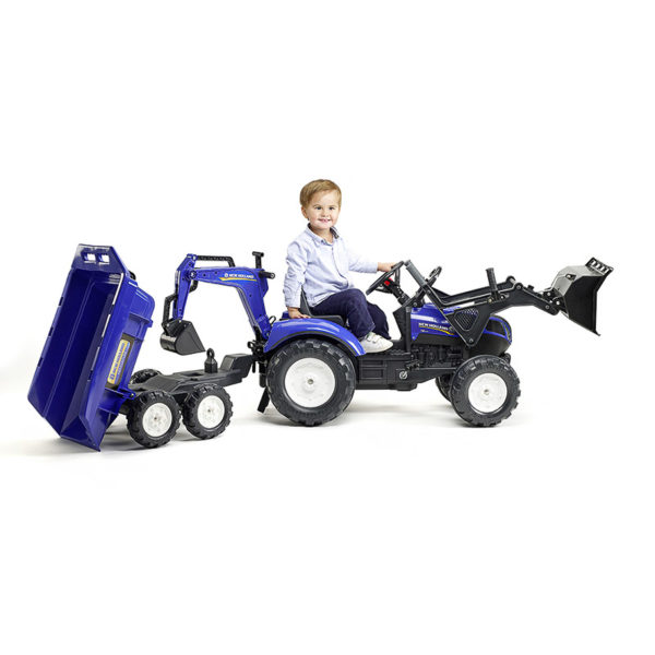 Little boy playing with New Holland 3090W Backhoe