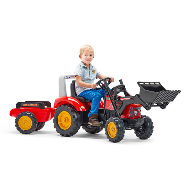 Child playing with Supercharger pedal tractor with front loader and trailer 2020M