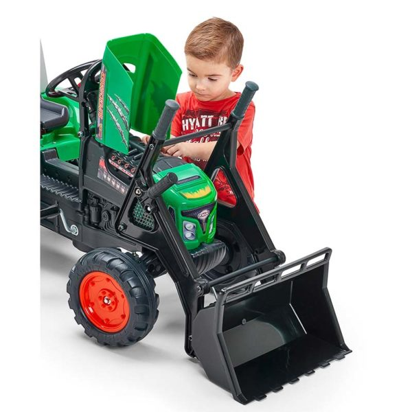 Child playing with Supercharger Pedal Backhoe 2021M and opening hood