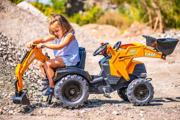 Child Playing with Case Construction 997N Backhoe outside