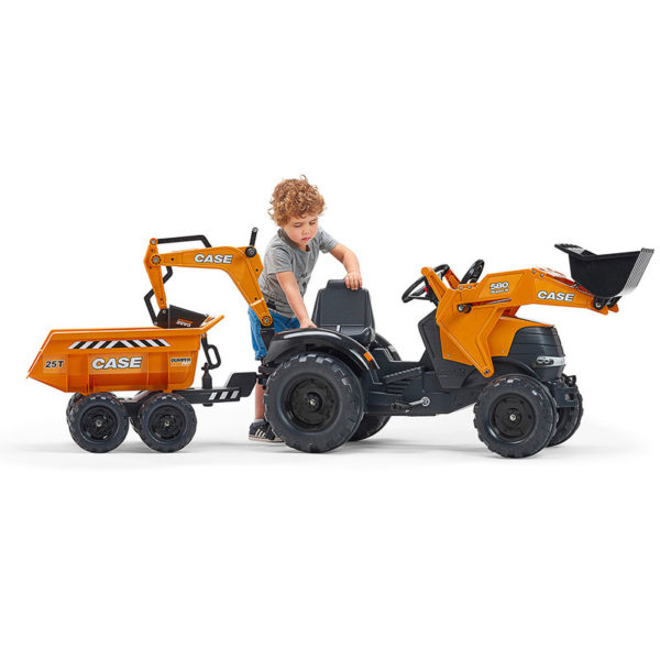 Child playing with Falk Toys Case Construction 997W Backhoe Loader