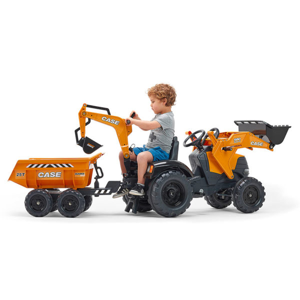 Little boy playing with Case Construction 997W Backhoe Loader