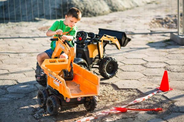 Child Playing With Falk Toys Backhoe Case Construction 997W Outdoors