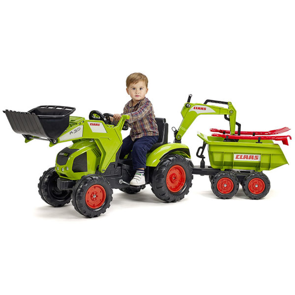 Child playing with Claas 1010WH pedal backhoe loader