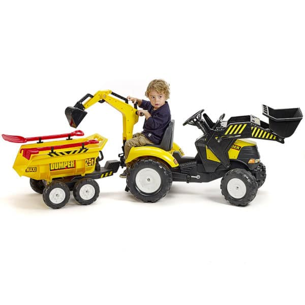 Child playing with Falk Toys Power Backhoe Loader 1000WH
