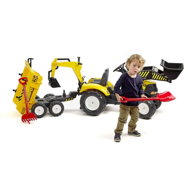 Little boy playing with Falk Toys Power Backhoe Loader 1000WH